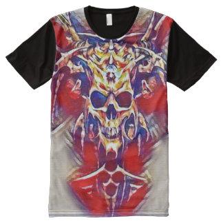 Demon Skull Gouache Fantasy Art All-Over Print T-Shirt