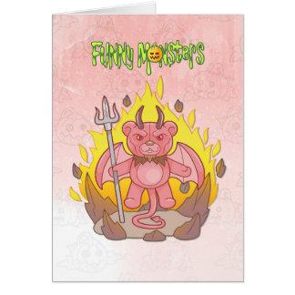 demon teddy bear card