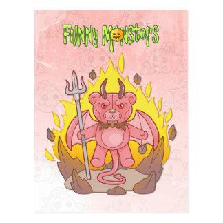 demon teddy bear postcard