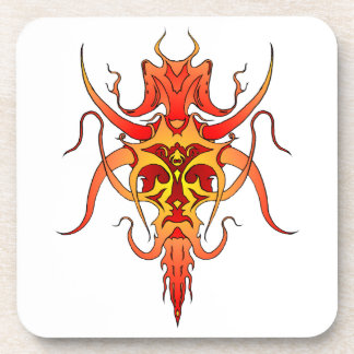 Demon Tribal Tattoo - red and yellow Coasters