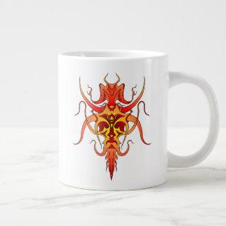 Demon Tribal Tattoo - red and yellow Large Coffee Mug