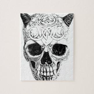 Demonic Halloween Skull. Digital Gothic Horror Jigsaw Puzzle
