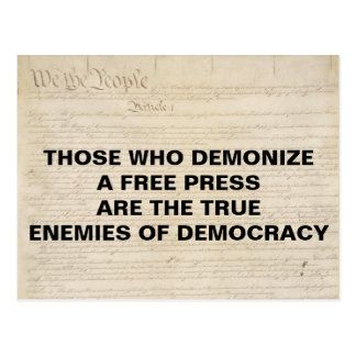 Demonise Press Enemy of Democracy First Amendment Postcard