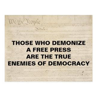 Demonize Press Enemy of Democracy First Amendment Postcard