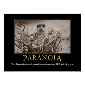 Demotivational Squirrel Poster: Paranoia Poster