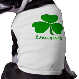 Dempsey Irish Shamrock Name Sleeveless Dog Shirt