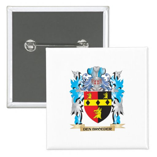 Den-Broeder Coat of Arms - Family Crest Pinback Buttons