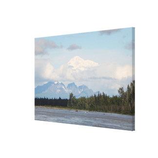 Denali, forest, river, mountains, Alaska, USA 3 Canvas Print