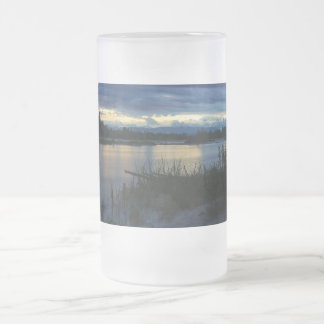 Denali Midnight Sunset Frosted Glass Beer Mug