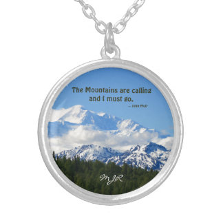 Denali Mtns are calling / Muir Template Silver Plated Necklace
