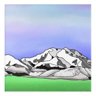Denali water color line art landscape