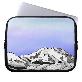 Denali water color line art landscape laptop sleeve