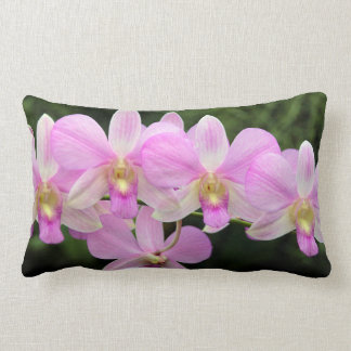 Dendrobium Orchid Pink Flowers Lumbar Cushion