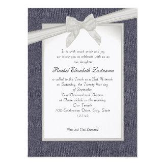Denim and Bows Bat Mitzvah 5.5x7.5 Paper Invitation Card