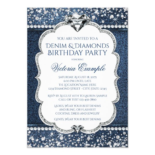 Denim and diamond bling birthday party invitations zazzle denim and diamond bling birthday party invitations stopboris Image collections