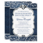 Denim and Diamond Bling Birthday Party Invitations