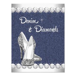 "Denim and Diamonds Birthday Party Invitations 4.25"" X 5.5"" Invitation Card"