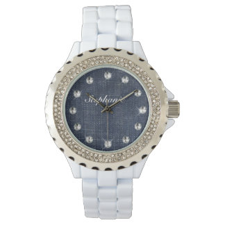 Denim and Diamonds Personalized Watch