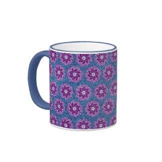 Denim and flower purple and blue mug mug