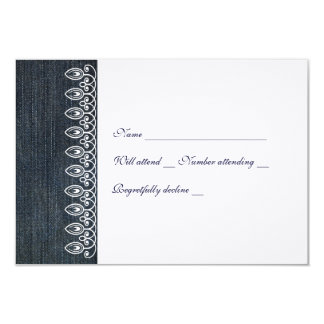 Denim and Lace rsvp with envelope 9 Cm X 13 Cm Invitation Card