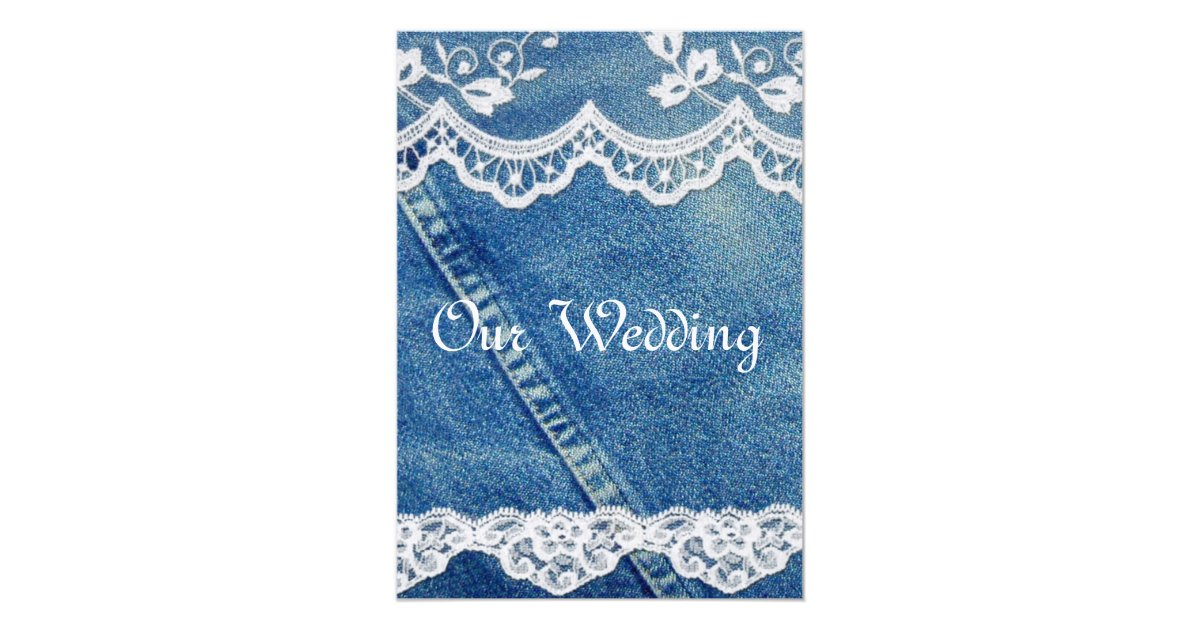 Denim Wedding Invitations: Denim And Lace Rustic Country Wedding Invitations