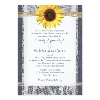 Denim and Lace Sunflower Wedding Card