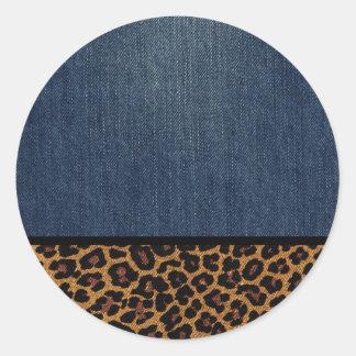 Denim and Leopard Classic Round Sticker