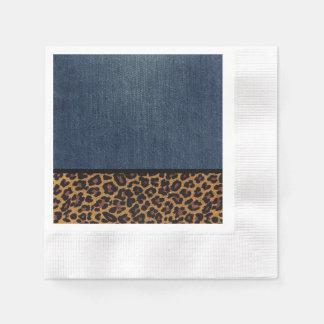Denim and Leopard Disposable Serviette