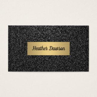 Denim and Metallic Gold Business Card