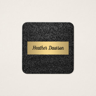 Denim and Metallic Gold Square Business Card