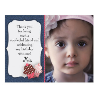 Denim and Pink Cupcakes Photo Birthday Thank You Postcard