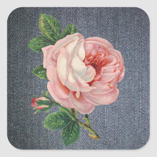 Denim and Vintage Rose Stickers