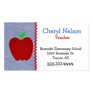 Denim & Apple Teacher's Business Card