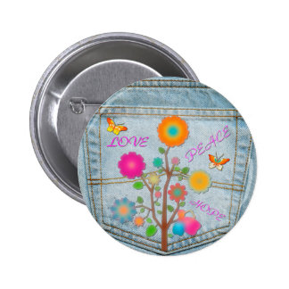 Denim Back Pocket Flowers Peace Love Hope 6 Cm Round Badge