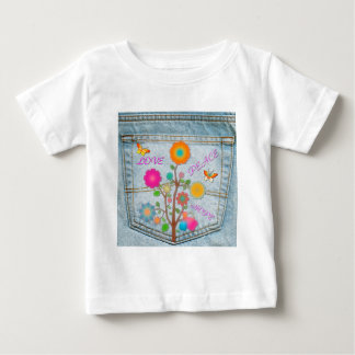 Denim Back Pocket Flowers Peace Love Hope Baby T-Shirt