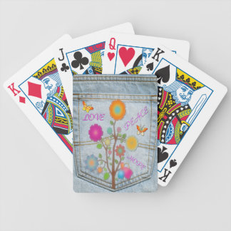 Denim Back Pocket Flowers Peace Love Hope Bicycle Playing Cards