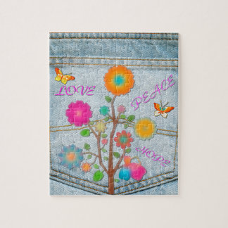 Denim Back Pocket Flowers Peace Love Hope Jigsaw Puzzle