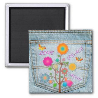 Denim Back Pocket Flowers Peace Love Hope Magnet