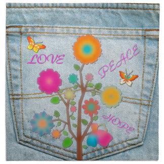 Denim Back Pocket Flowers Peace Love Hope Napkin