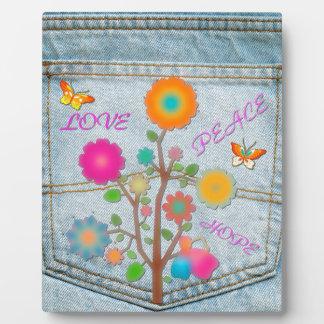 Denim Back Pocket Flowers Peace Love Hope Photo Plaque
