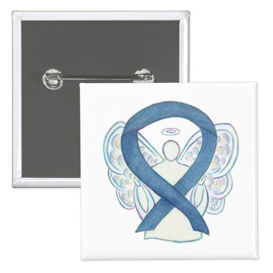Denim Blue Angel Awareness Ribbon Custom Pins