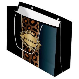 Denim Blue, Black and Jaguar Print Large Gift Bag