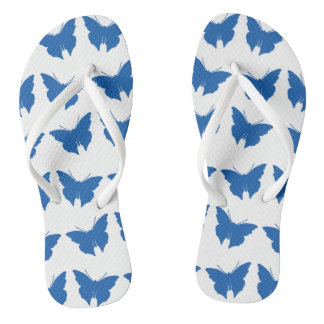 Denim Blue Bold Mod Butterflies Thongs