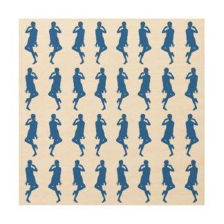 Denim Blue Bold Mod GoGo Girls Wood Print
