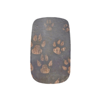 Denim Blue Brown Paw Prints Nail Art