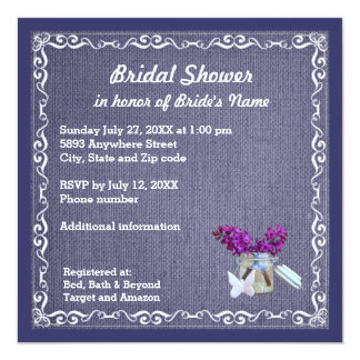 Denim Blue Burlap, Purple Flower, Jar Bride Shower Card