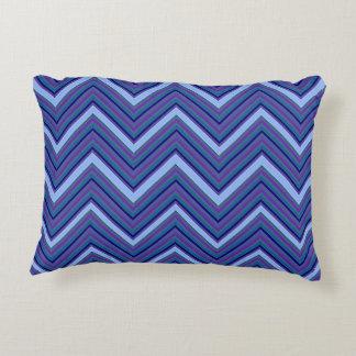 Denim Blue Chevrons Decorative Cushion