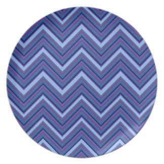 Denim Blue Chevrons Plate
