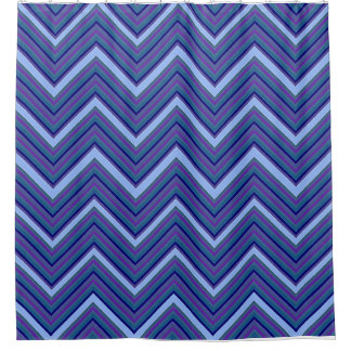 Denim Blue Chevrons Shower Curtain