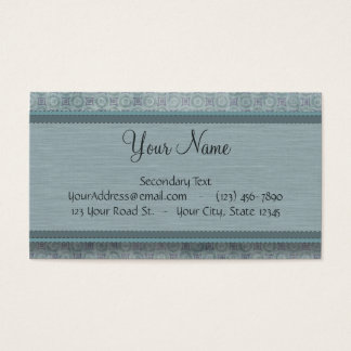Denim Blue Coin Pattern with Monogram Business Card